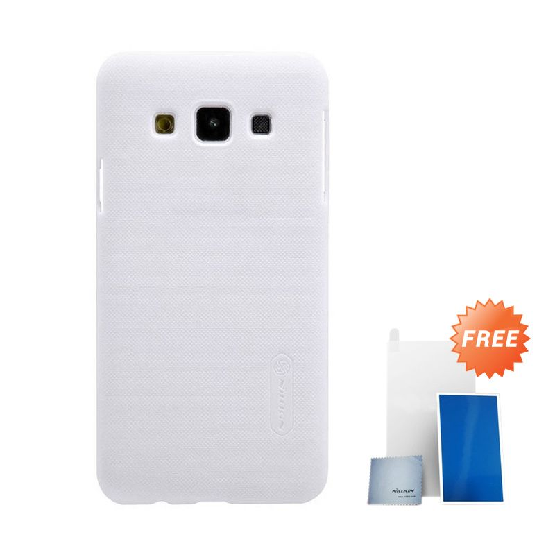 Nillkin Super Frosted Shield White Casing for Samsung Galaxy A3 + Nilkin Screen Protector