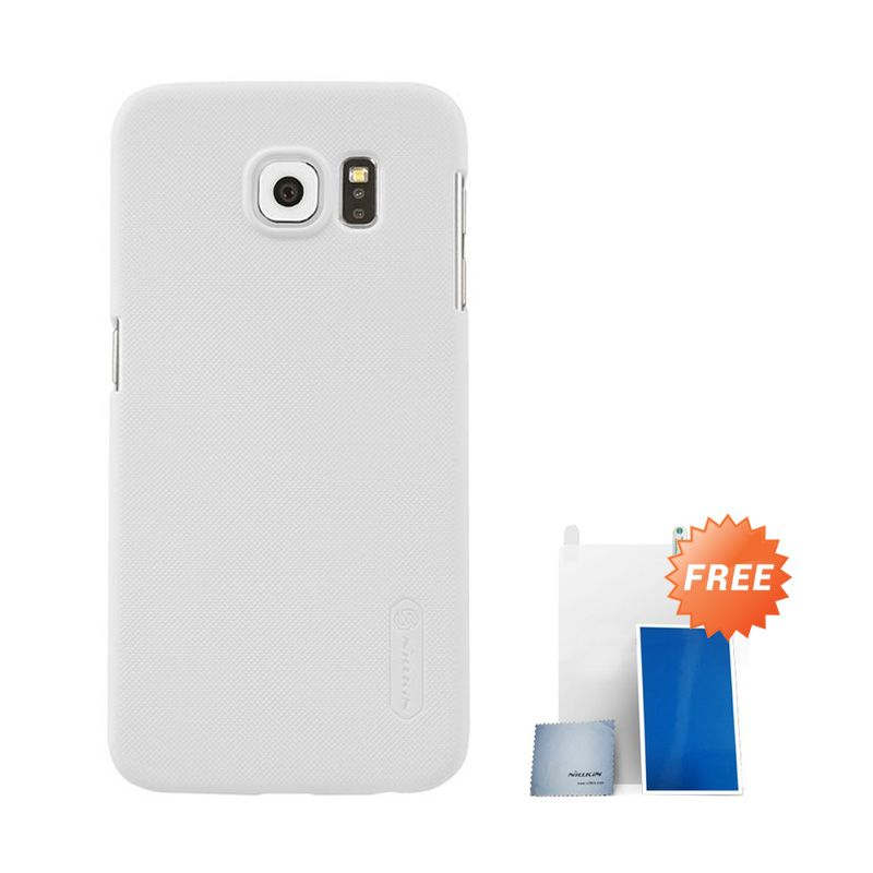 Nillkin Super Frosted Shield White Casing For Samsung S6 + Anti Gores