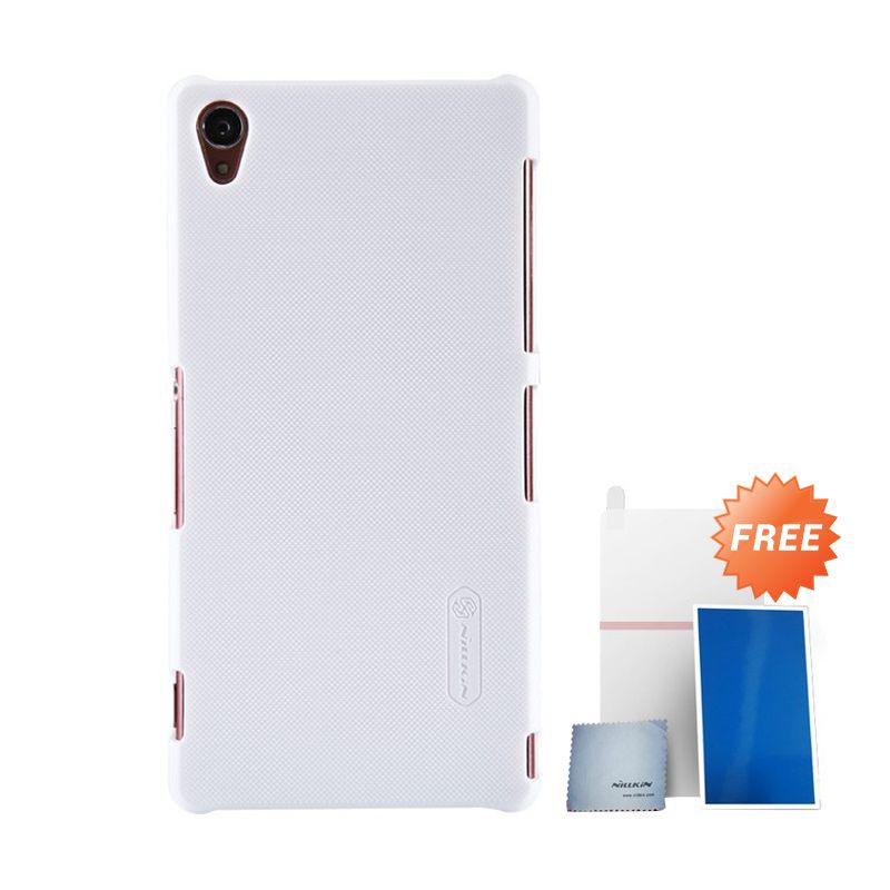 Nillkin Super Frosted Shield White Casing For Sony Xperia Z3 + Nilkin Screen Protector