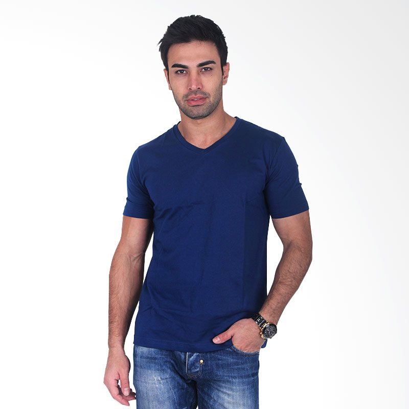 Clothmakers Premium Cotton V Tees Navy Blue