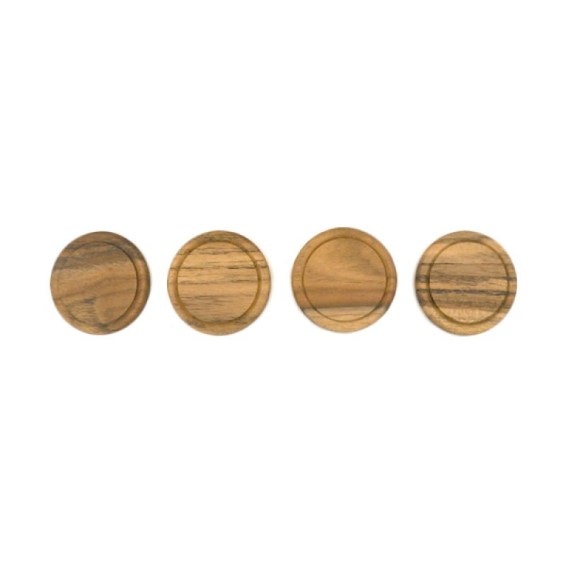 COCOBOLO Double Round Natural Teak Wood Coasters