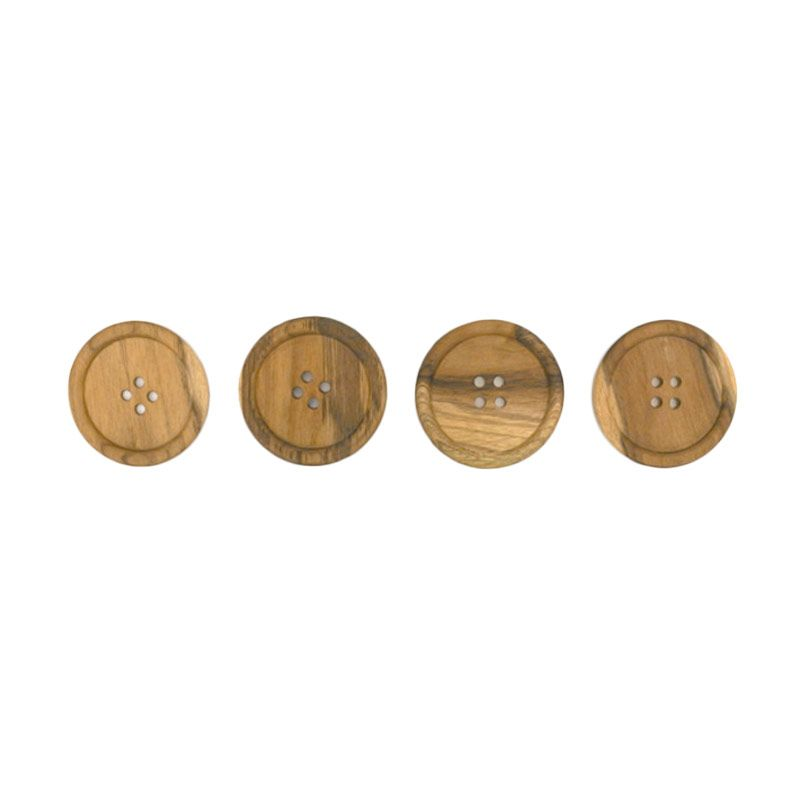 COCOBOLO Button Natural Teak Wood Coasters Tatakan Gelas