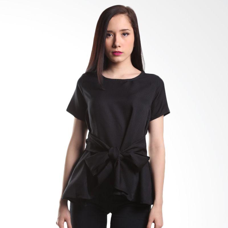 Cocolyn Basic Top with Fabric Belt K1886 Black Atasan Wanita