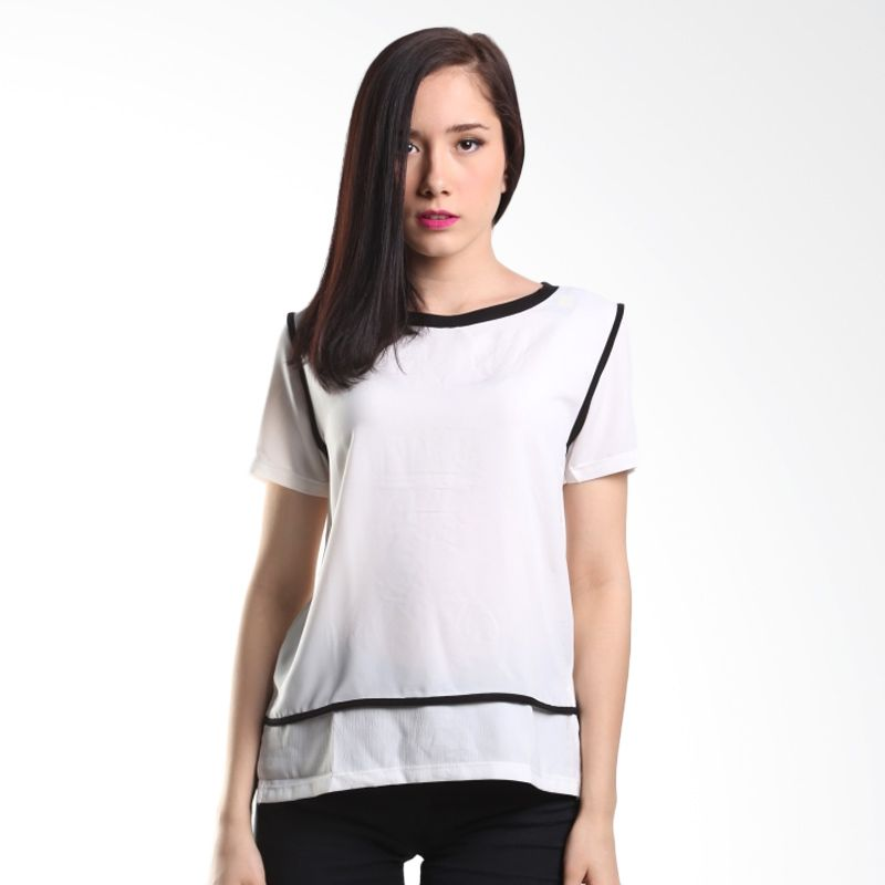 Cocolyn Black Collar K1883 White Atasan Wanita