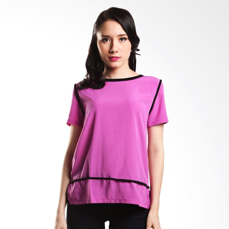 Cocolyn Black Collar Y1177 Purple Atasan Wanita