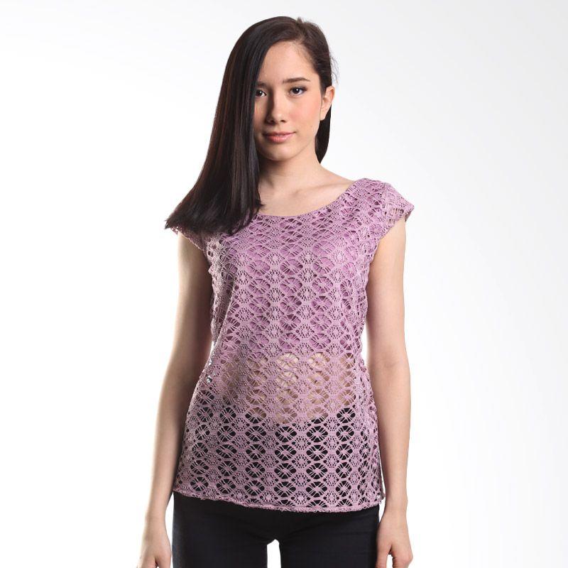 Cocolyn Lace Cap Sleeve With Belt K1871 Purple Atasan Wanita