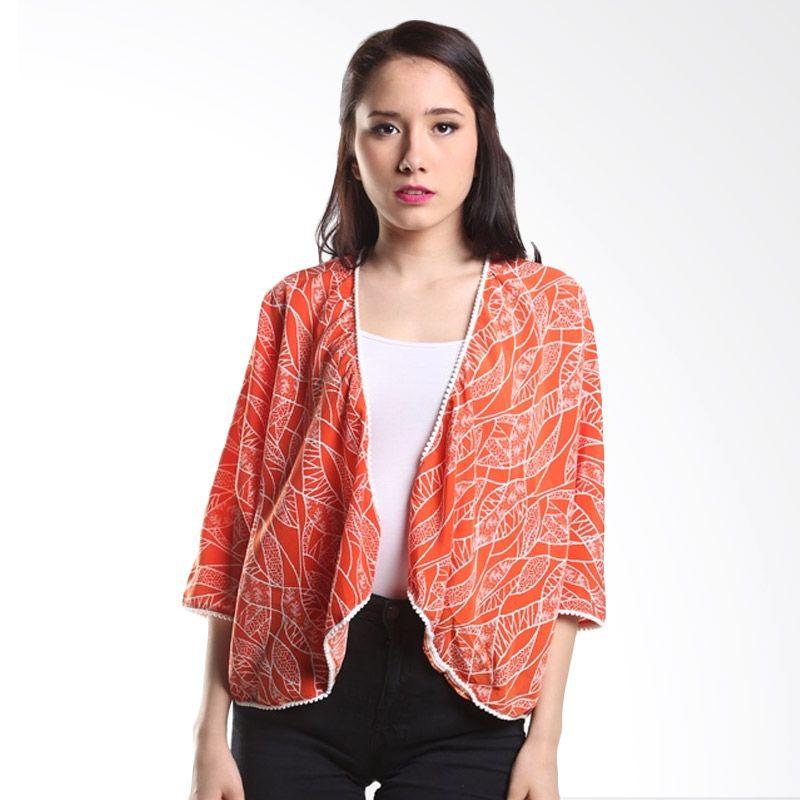 Cocolyn Leaves Y1185 Orange Cardigan