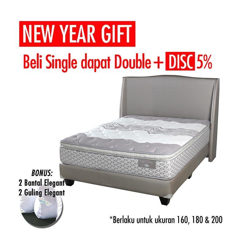 Promo Get Bigger Offer Up Grade Size - Comforta Luxury Choice Set Tempat Tidur + Bantal + Guling Xtra/Superking White