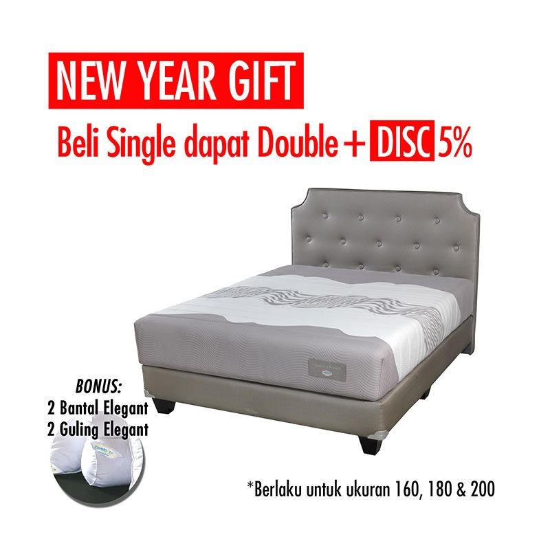 Promo Get Bigger Offer Up Grade Size - Comforta Luxury Pedic Set Tempat Tidur + Bantal + Guling Queen White