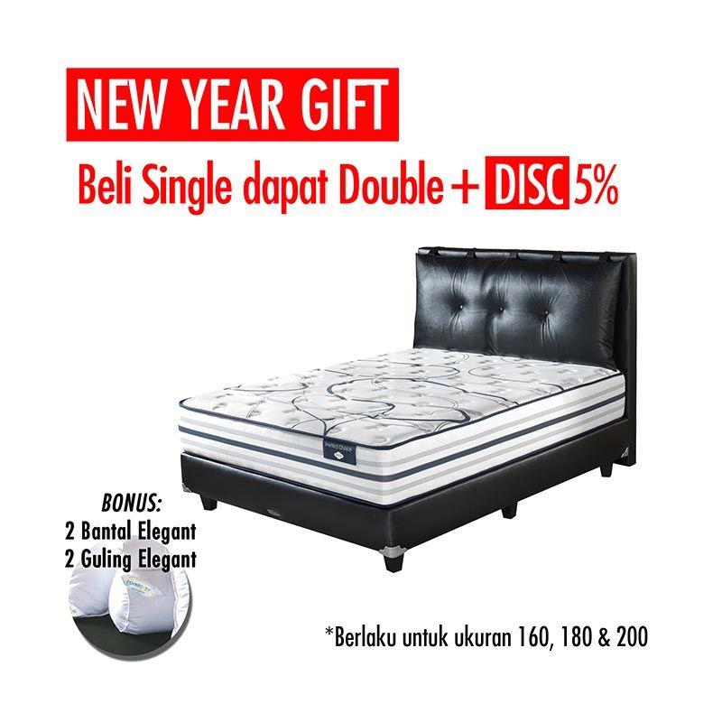 Promo Get Bigger Offer Up Grade Size - Comforta Perfect Choice Set Tempat Tidur + Bantal + Guling Xtra/Superking White