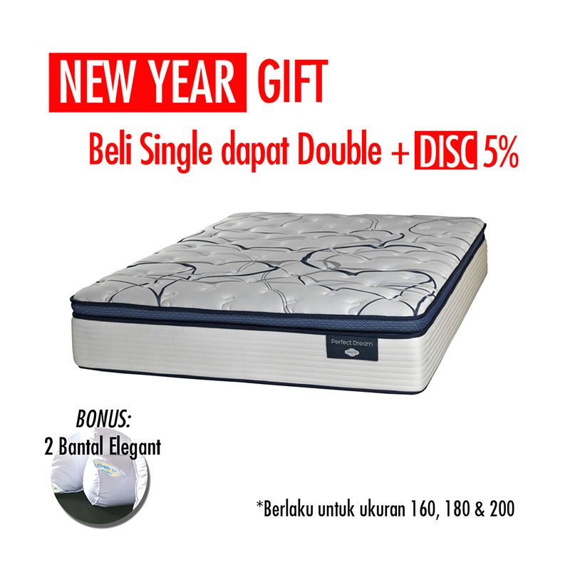 Promo Get Bigger Offer - Comforta Perfect Dream Krem Kasur + Bantal
