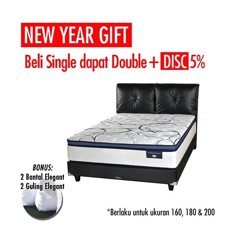 Promo Get Bigger Offer - Comforta Perfect Dream Set Tempat Tidur + Bantal + Guling Xtra/Superking White