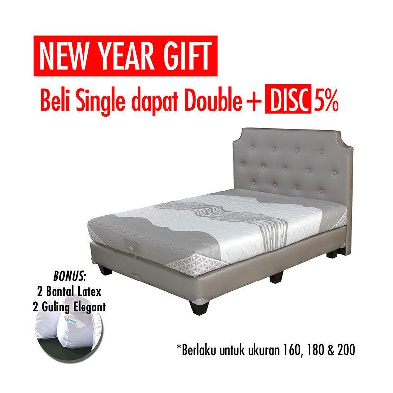 Promo Get Bigger Offer Up Grade Size - Comforta Solid Spine Set Tempat Tidur + Bantal + Guling Queen White