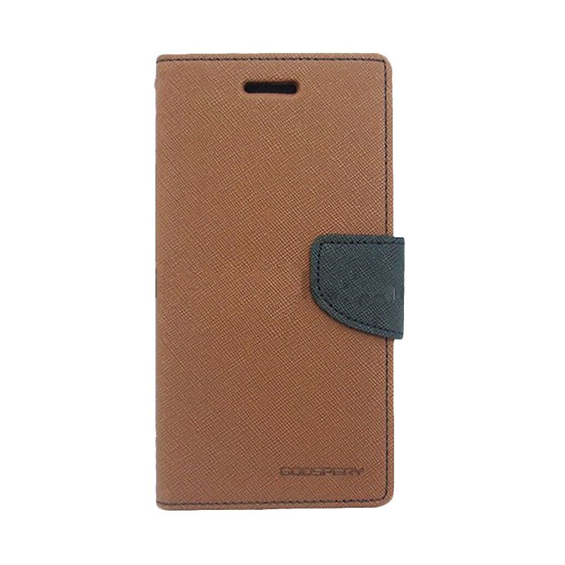 Mercury Goospery Fancy Diary Brown Black Flip Cover Casing for Sony Xperia T3