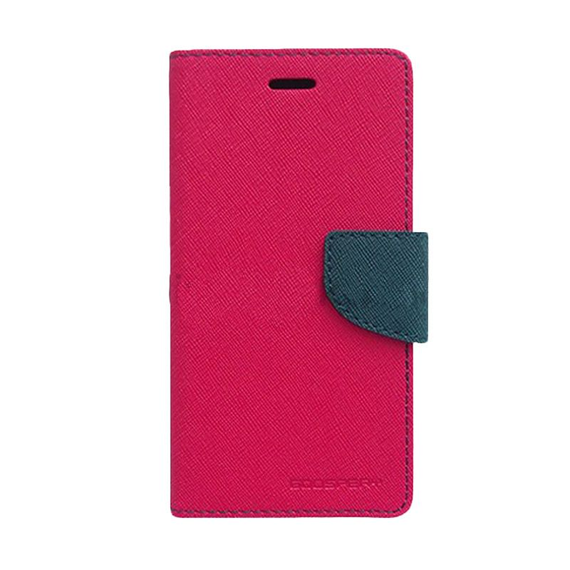 Mercury Goospery Fancy Diary Hot Pink Navy Flip Cover Casing for Sony Xperia T3