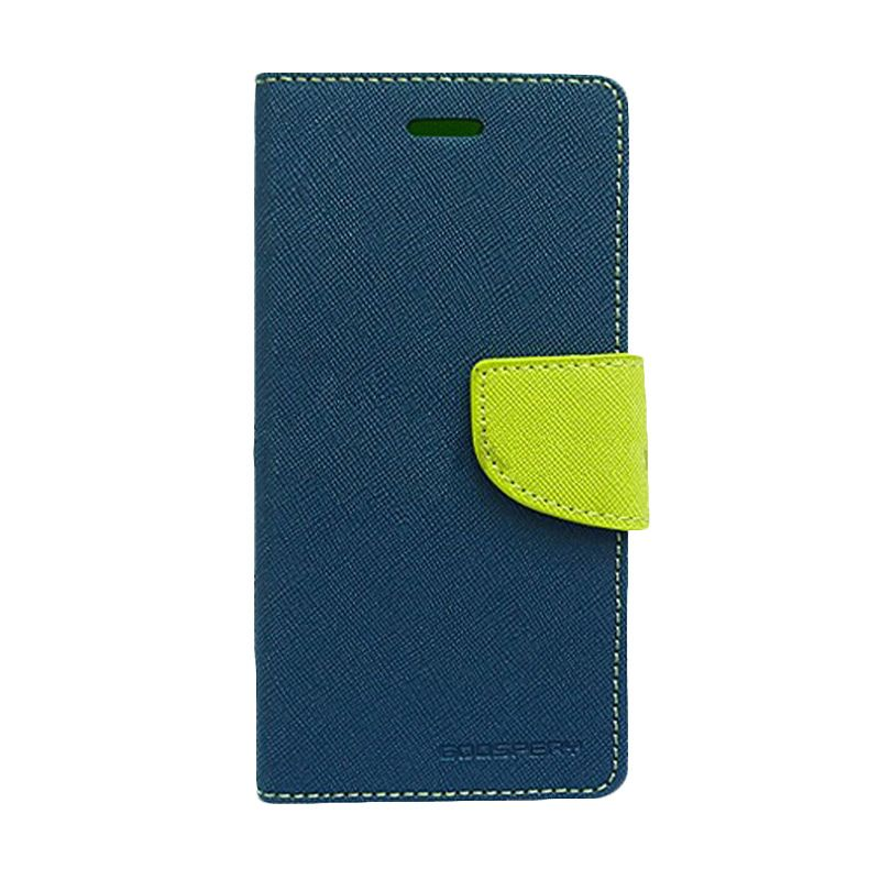 Mercury Goospery Fancy Diary Navy Lime Flip Cover Casing for Sony Xperia T3