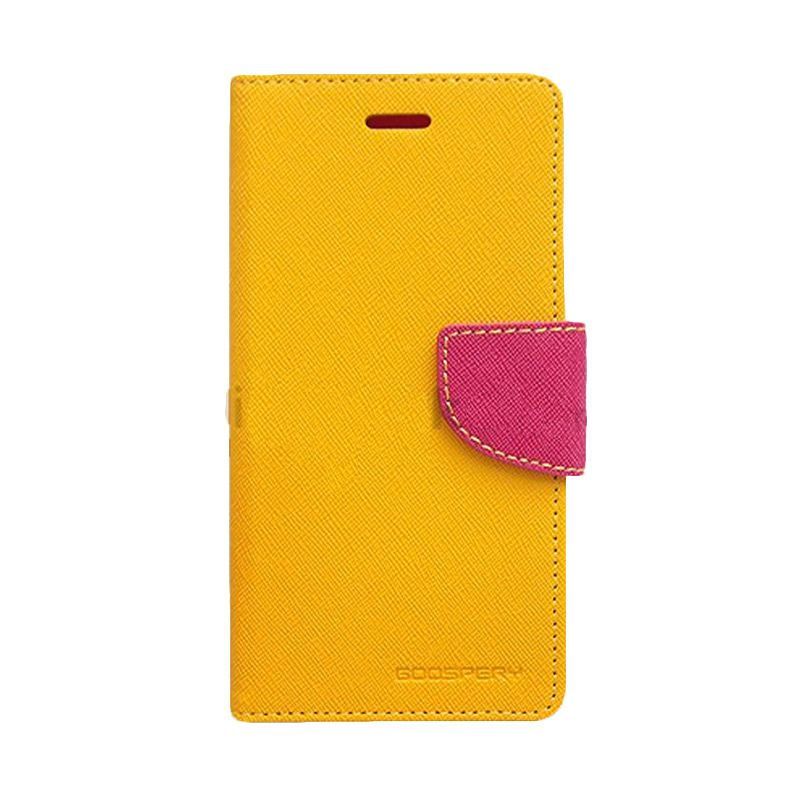 Mercury Goospery Fancy Diary Yellow Hot Pink Flip Cover Casing for Sony Xperia T3