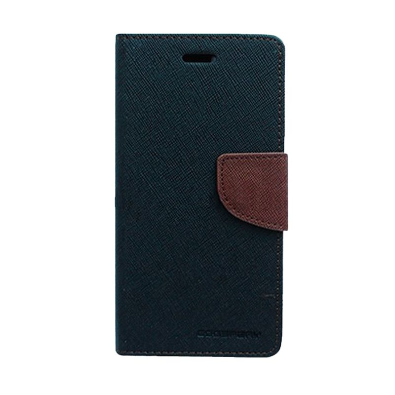 Mercury Goospery Fancy Diary Black Brown Casing for Galaxy Alpha