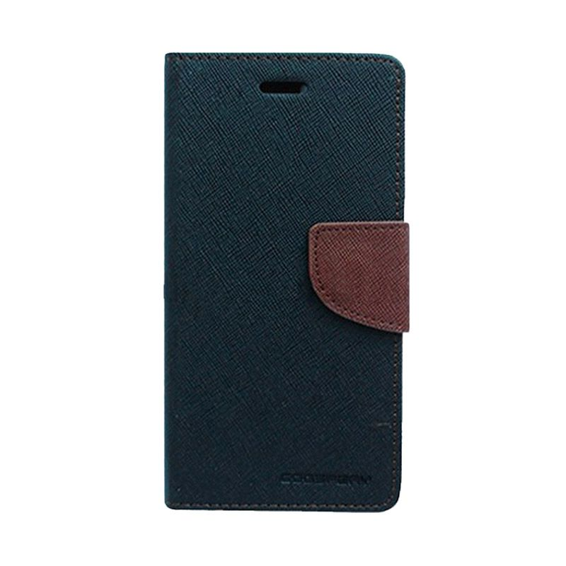 Mercury Goospery Fancy Diary Black Brown Casing for Galaxy Mega 2