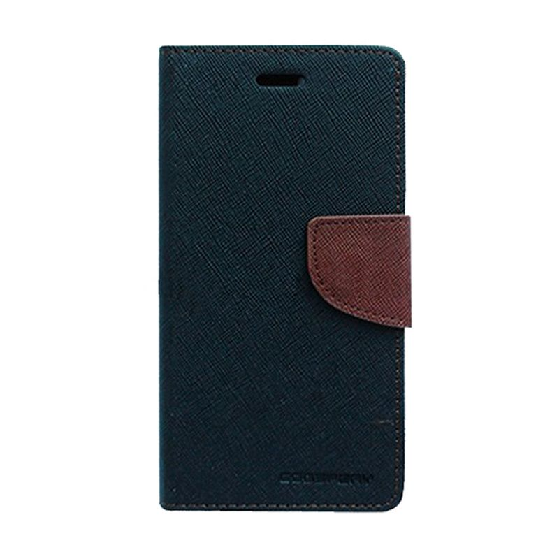 Mercury Goospery Fancy Diary Black Brown Flip Cover Casing for Galaxy Note 4