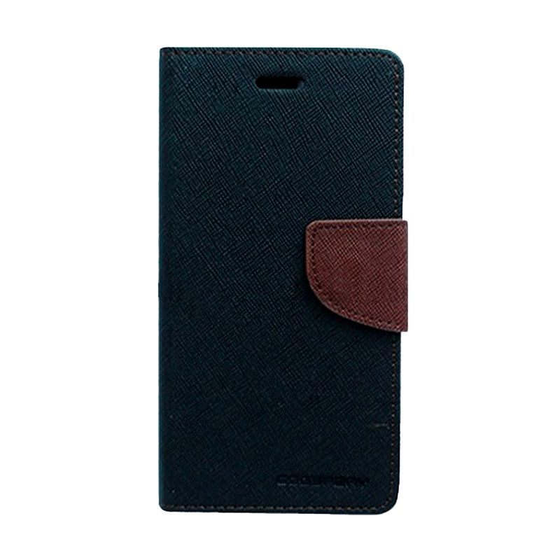 Mercury Goospery Fancy Diary Black Brown Casing for HTC New One