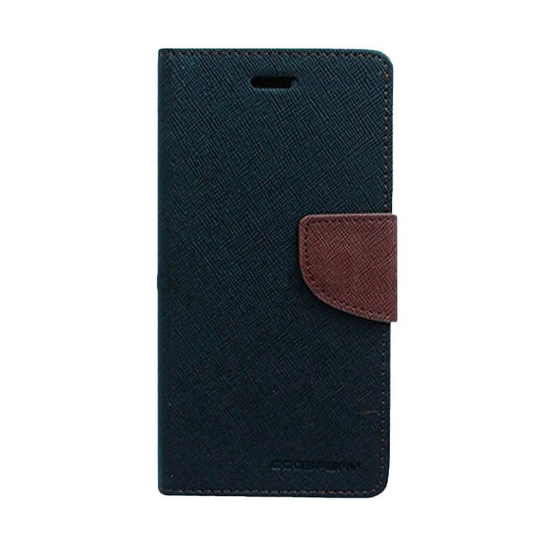 Mercury Goospery Fancy Diary Black Brown Casing for HTC One Mini