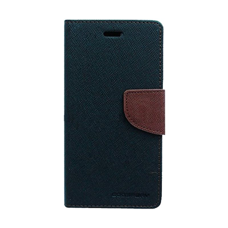 Mercury Goospery Fancy Diary Black Brown Casing for Motorola Moto E