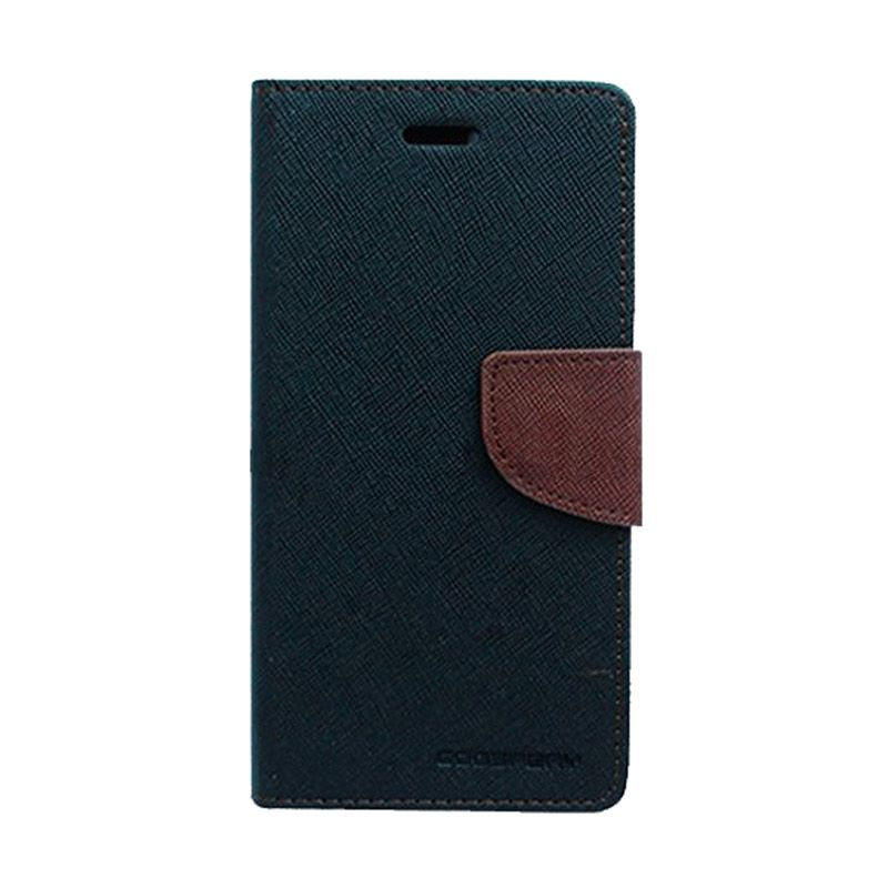 Mercury Goospery Fancy Diary Black Brown Casing for Sony Xperia C