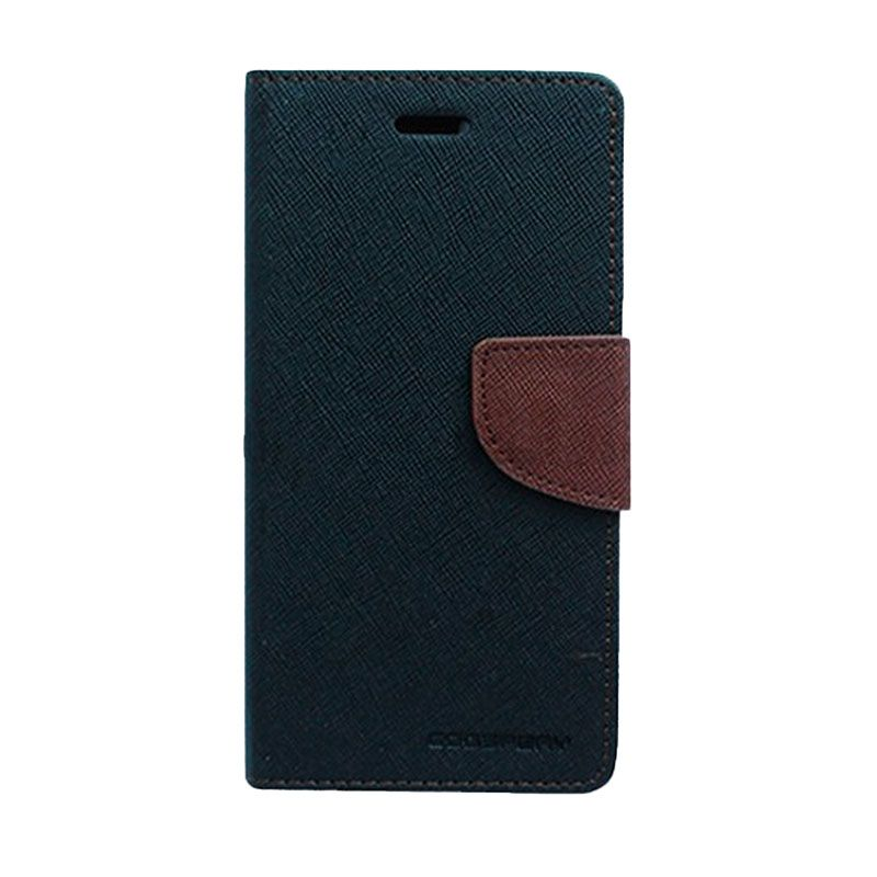 Mercury Goospery Fancy Diary Black Brown Flip Cover Casing for Galaxy Core 2