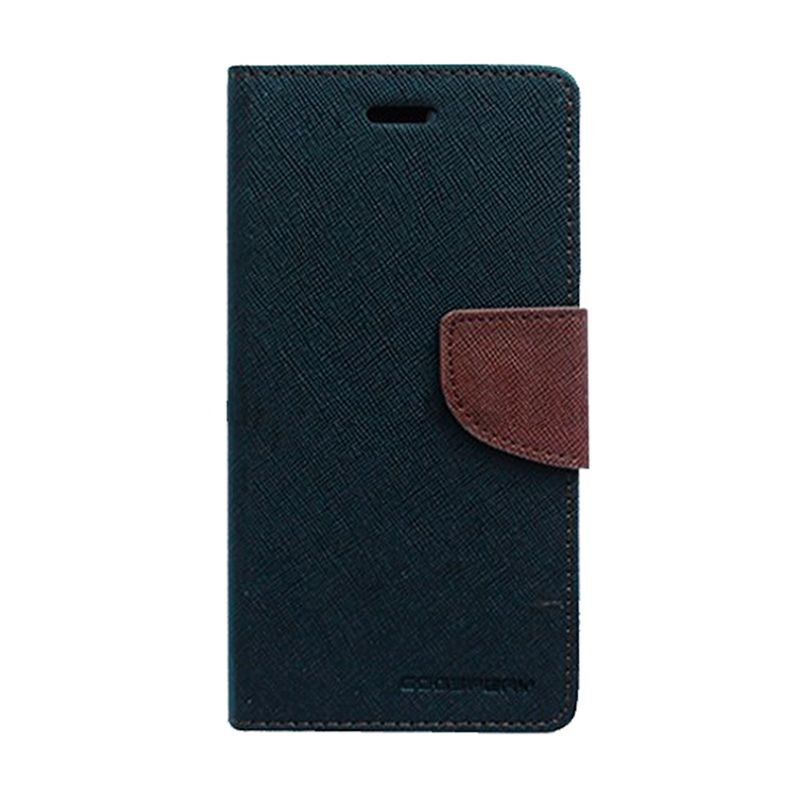 Mercury Goospery Fancy Diary Black Brown Flip Cover Casing for Galaxy Trend Lite