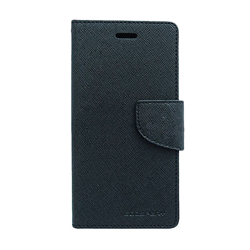 Mercury Goospery Fancy Diary Black Black Flip Cover Casing for Galaxy Note 4