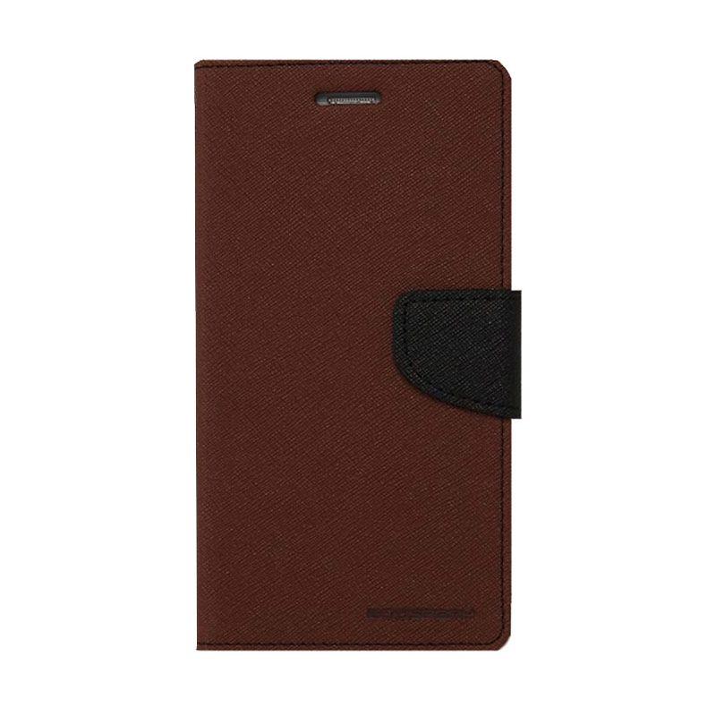 Mercury Goospery Fancy Diary Brown Black Casing for Asus Zenfone 4S