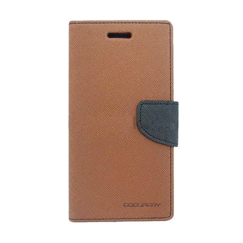 Mercury Goospery Fancy Diary Brown Black Flip Cover Casing for Galaxy Mega 5.8