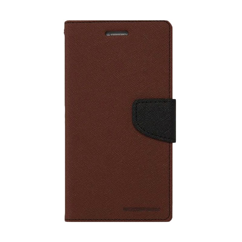 Mercury Goospery Fancy Diary Brown Black Casing for Galaxy S4 mini