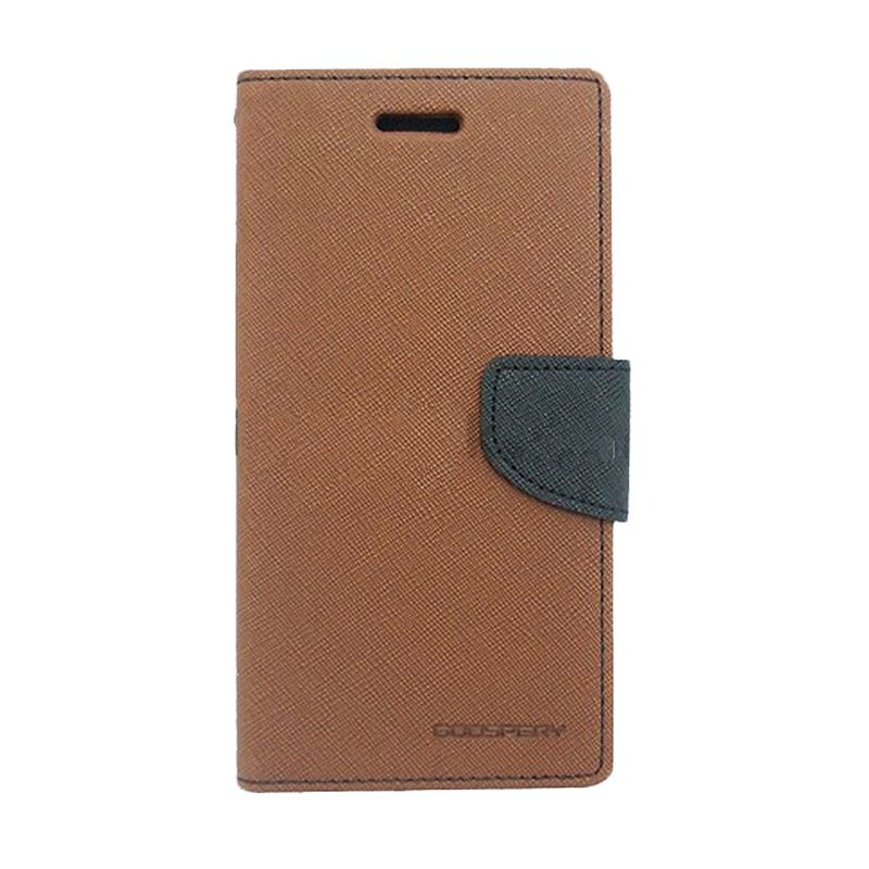 Mercury Goospery Fancy Diary Brown Black Casing for Galaxy Young 2