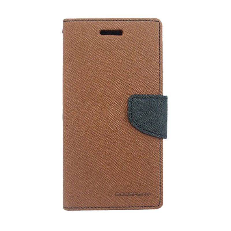 Mercury Goospery Fancy Diary Brown Black Casing for HTC New One