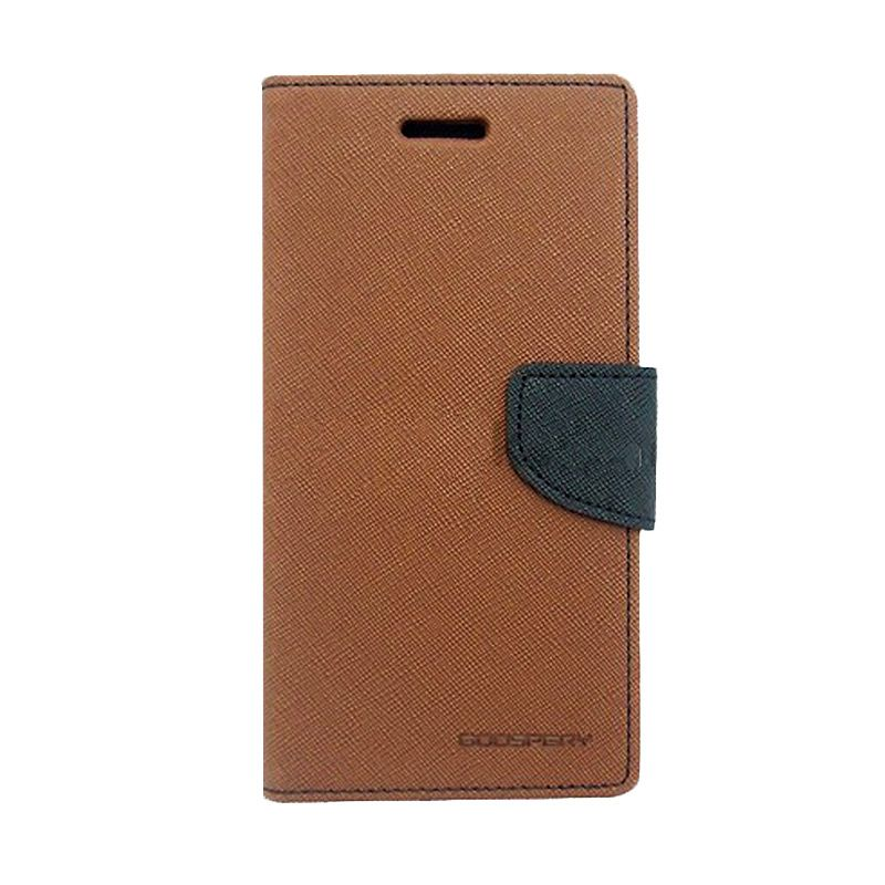 Mercury Goospery Fancy Diary Brown Black Casing for LG G Pro 2