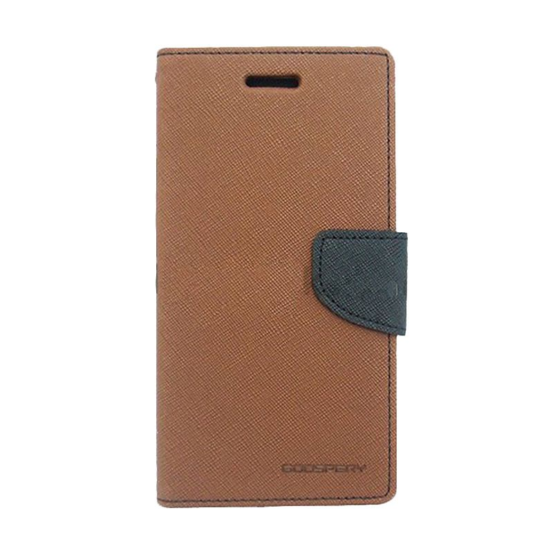 Mercury Goospery Fancy Diary Brown Black Casing for Motorola Moto E