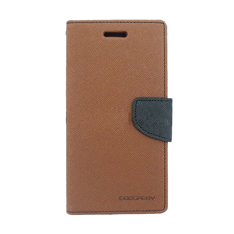 Mercury Goospery Fancy Diary Brown Black Casing for Nokia X2