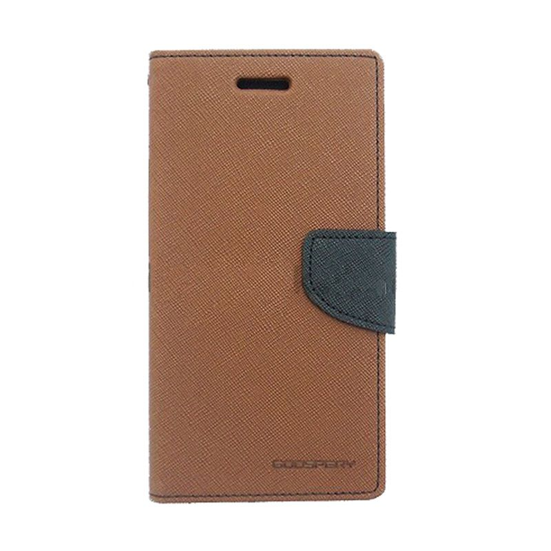 Mercury Goospery Fancy Diary Brown Black Casing for OPPO Find 7