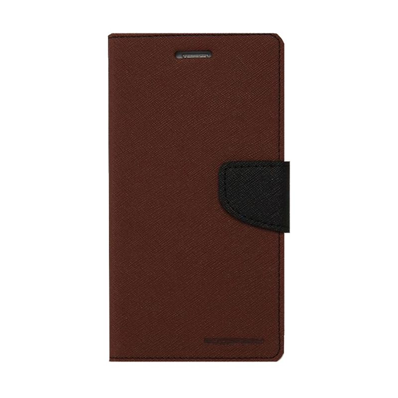 Mercury Goospery Fancy Diary Brown Black Casing for OPPO Joy