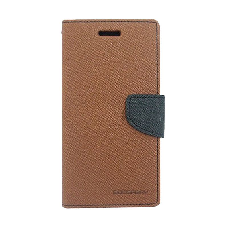 Mercury Goospery Fancy Diary Brown Black Casing for OPPO Neo K