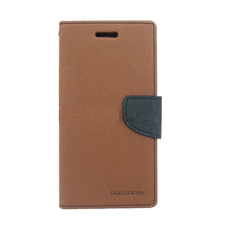 Mercury Goospery Fancy Diary Brown Black Casing for Samsung Galaxy Grand Prime