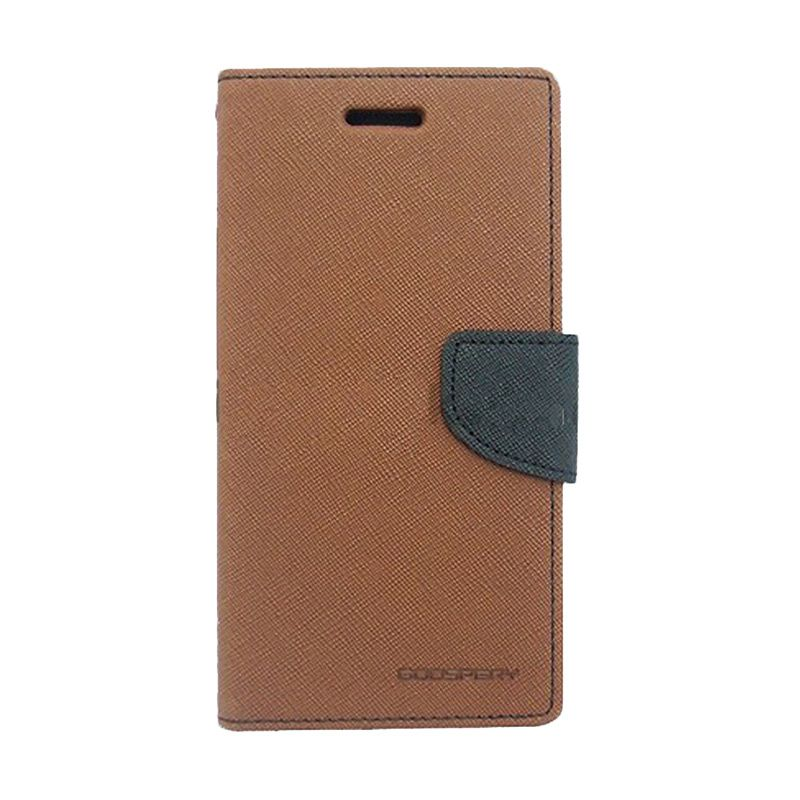 Mercury Goospery Fancy Diary Brown Black Casing for Samsung Galaxy Note 2