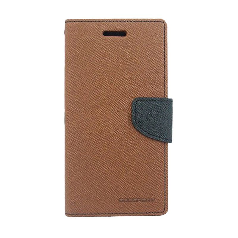 Mercury Goospery Fancy Diary Brown Black Casing for Xperia M2