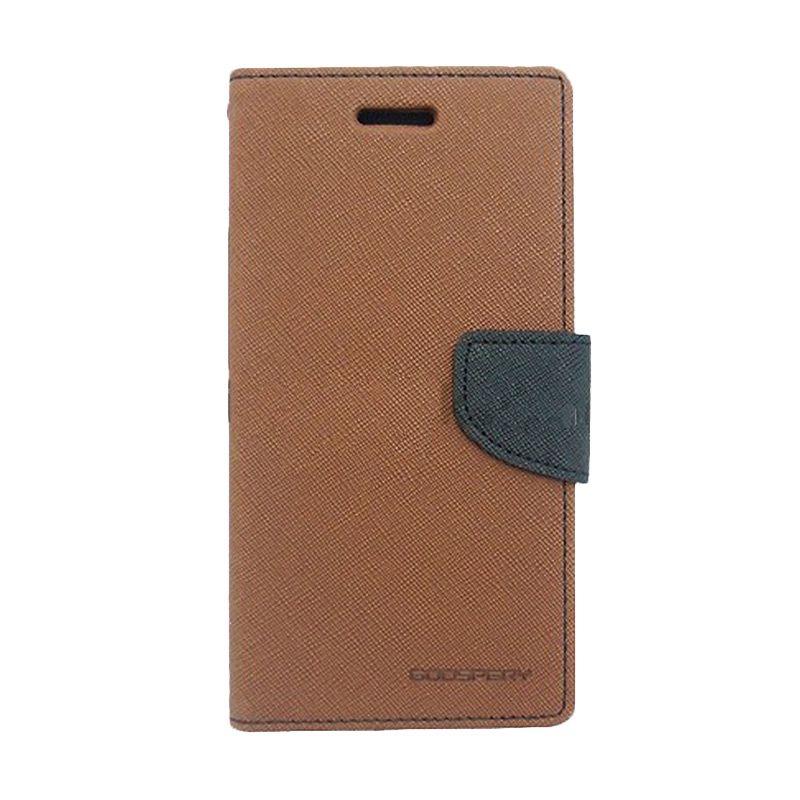 Mercury Goospery Fancy Diary Brown Black Casing for Sony Xperia Z2