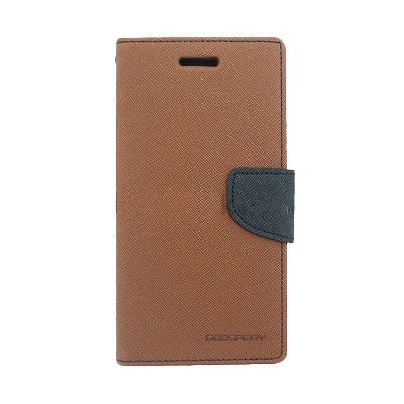 Mercury Goospery Fancy Diary Brown Black Casing for Sony Xperia Z3