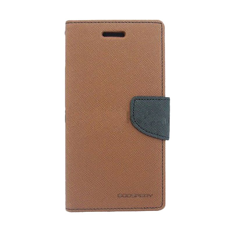 Mercury Goospery Fancy Diary Brown Black Flip Cover Casing for Galaxy Mega 2
