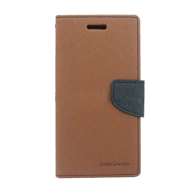 Mercury Goospery Fancy Diary Brown Black Flip Cover Casing for Galaxy S4 Mini