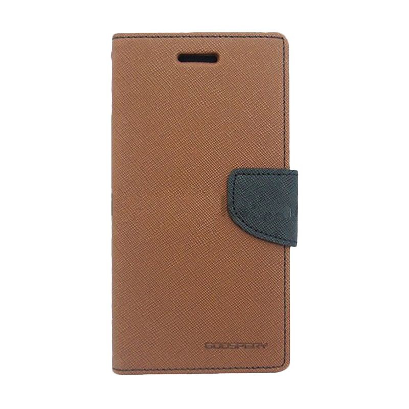Mercury Goospery Fancy Diary Brown Black Casing for Galaxy S4